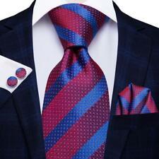 USA Striped Red Blue Mens Tie Woven Silk Necktie Set Hanky Wedding Formal Party
