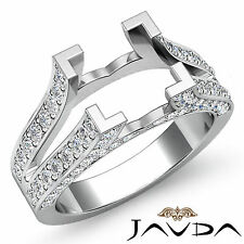 Diamond Princess Semi Mount Anniversary Pave Setting Ring 14k White Gold 1Ct