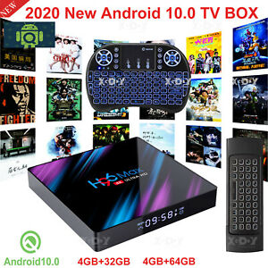 64G 32G H96 MAX Android 10.0 5.8G WiFi BT TV BOX Keyboard RK3318 Quad Core DHL