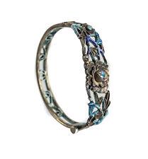 Chinese Sterling Silver and Enamel Bangle Bracelet c1900 w/ hinge screw closure