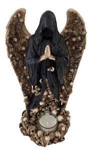 Winged Cloaked Skeleton Grim Reaper Tea Light Candle Holder