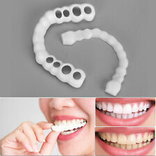 2 Pcs Upper Lower Silicone False Tooth Cover Whitening Denture Oral Care Smile