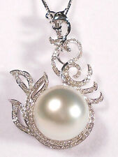 13mm white South Sea pearl pendant/enhancer,diamonds,solid 18k white gold