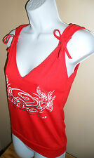 Red Sleeveless Deep V Neck Womens Cute Summer Top Hawaiian Long board Wear Small