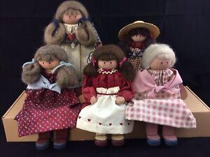 Vintage Handmade Country Folk Art Wooden Dolls Lot of 5
