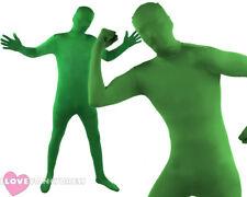 GREEN SKIN SUIT MENS HALLOWEEN ALIEN FANCY DRESS COSTUME ST PATRICKS DAY ZENTAI