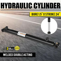 "Hydraulic Cylinder For Loader Welded Double Acting 1.5"" Bore 24"" Stroke 1.5x24"