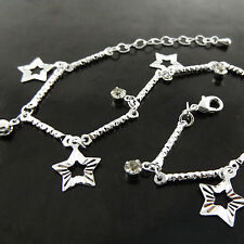 ANKLET GENUINE REAL 925 STERLING SILVER S/F LADIES FILIGREE STAR BEAD DESIGN