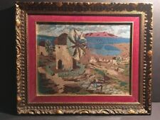 Handmade Windmill Landscape Needlepoint Picture In Carved Wood Frame 16 X 20