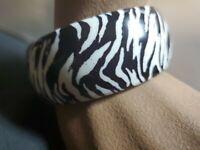 """1 1/4"""" Bangle Bracelet Faux Thick Animal Print Zebra Black Striped"""