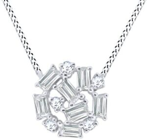 """Simulated Diamond Cluster Pendant With 18"""" Rope Necklace 14K Gold Over"""