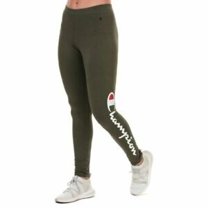Women's Champion Large Script Logo Skinny Fit Training Leggings in Green