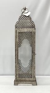 NEW Pottery Barn Talia Galvanized Lantern~Antique Silver Finish