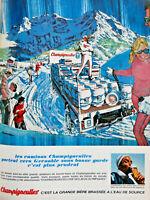 PUBLICITÉ DE PRESSE 1967 BIÈRE CHAMPIGNEULLES BRASSÉE A L'EAU DE SOURCE GRENOBLE