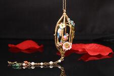 Collier Doré Sautoir Email Bleu Rose Couple de Mesanges Cage Fleur Retro L7
