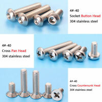 Inch  4#-40 Stainless Steel Button Head Pan Head Countersunk Head Screws