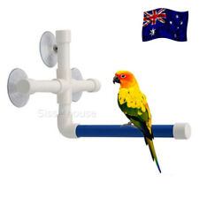 Pet Birds Wall Suction Paw Grinding Stand Shower Perches Parrot Budgie BLUE