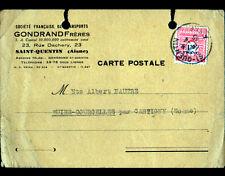 """SAINT-QUENTIN (02) Ets de TRANSPORT """"GONDRAN Freres"""" voyagée en 1945"""