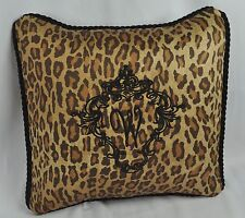 Personalized & Black Embroidered Pillow made w Venetian Leopard Fabric trim cord