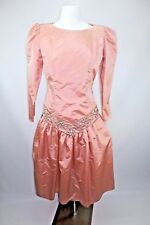 Vtg 80s Karen Lawrence by Matthew Puff Sleeve Drop Waist Beaded Blush Dress 12