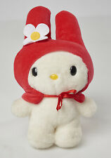 """hello kitty 9.5"""" tall plush Sanrio white with red hood and white flower"""