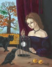 11X14 PRINT OF PAINTING RYTA RAVEN CROW HALLOWEEN BLACK CAT WICCA CLOCK GOTHIC