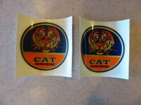 Vintage Laquer Craft Graph CAT Mini Bike DECAL Vinyl Minibike STICKER Lot of 2