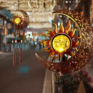 Gift Outdoor Decor Solar Wind Chimes Outside Hanging Chime Sun Moon Pattern