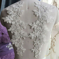 1 Pair Applique Lace Flower Trim Embroidered Clothing Sewing Motif Wedding Craft