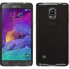 Coque en Silicone Samsung Galaxy Note 4 - transparent noir + films de protection