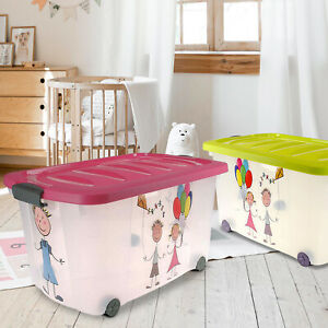 Kids Toy Box Boys Girls Storage Chest Bedroom Clothes Playroom Plastic Laundry