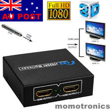 1 In 2 Out HDMI Splitter Amplifier Duplicator Switch Full HD 1080p 3D Foxtel DVD