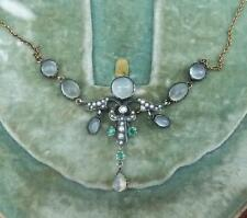Victorian 18ct gold silver moonstone seed pearl emerald and diamond 18k necklace