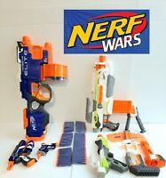 Nerf Gun Blaster Lot Of 5 Hyperfire Elite Modulus with Kit Blue vs White War!