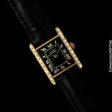CARTIER Tank Vintage Mens 18K Gold Plated & Diamond Watch - Mint with Warranty