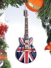 "Miniature 5"" Union Jack Hollow Body Electric Guitar Tree Ornament"
