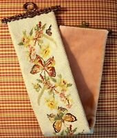Antique Needlepoint Bell Pull - Hand Stitched Butterflies Botanical - Rare