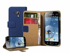 Wallet BLUE Leather Flip Case Cover Pouch for Samsung Galaxy S Duos 2 GT-S7582