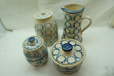 SPONGEWARE POTTERY WESTERWALD MEL STONEWARE 4 PC LOT PITCHER CHEESE CROCK d