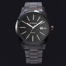 CURREN Herren Schwarz Datum Anzeigen Herren Edelstahl Faltschliesse Armband Uhr