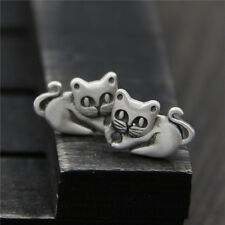 Womens Vintage Retro Antique 925 Sterling Silver Cute Kitten Cat Stud Earrings