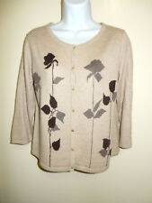 J.JILL WOOL BLEND PALE BEIGE SCOOP NECK 3/4 SLEEVES SHORT CARDIGAN SWEATER S/M