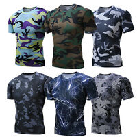 Mens Workout T-shirts Compression Gym Fitness Athletic Tops Camo Print Cool Dry