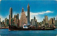 Manhattan Skyline foot of Wall Street 1950s pm New York NY Postcard