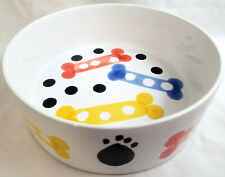 Handpainted Italy Artisan Collection Heavy Stoneware Puppy Dog Pet Dish Bowl