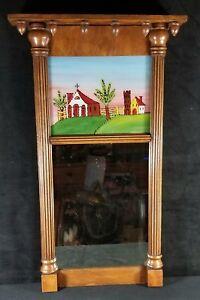 Antique Authentic Federal Period Split Column Reverse Painted Mirror 23.2x14 VF