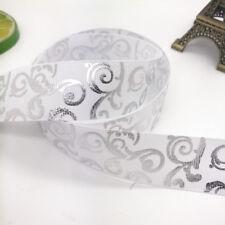DIY 5yards 1inch 25mm Print Hot Silver Satin Bow Ribbon Hair Sewing White