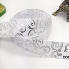 New Diy 5yards 1inch 25mm print hot silver Satin Bow Ribbon Hair Sewing White