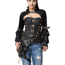 Black Flannel Ruffle Long Sleeve With Belt Steampunk Jacket Accessories Corset