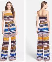 Diane Von Furstenberg Jumpsuit Trouser Suit Strapless Bandeau Multi Uk14 Us10